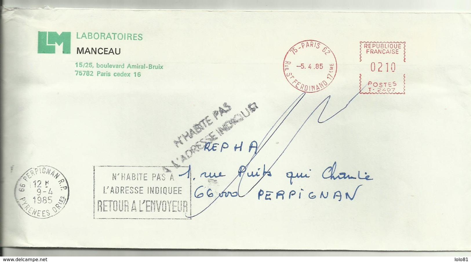 Lettre Paris 1985 N'habite Pas L'adresse Indiquée - 1961-....