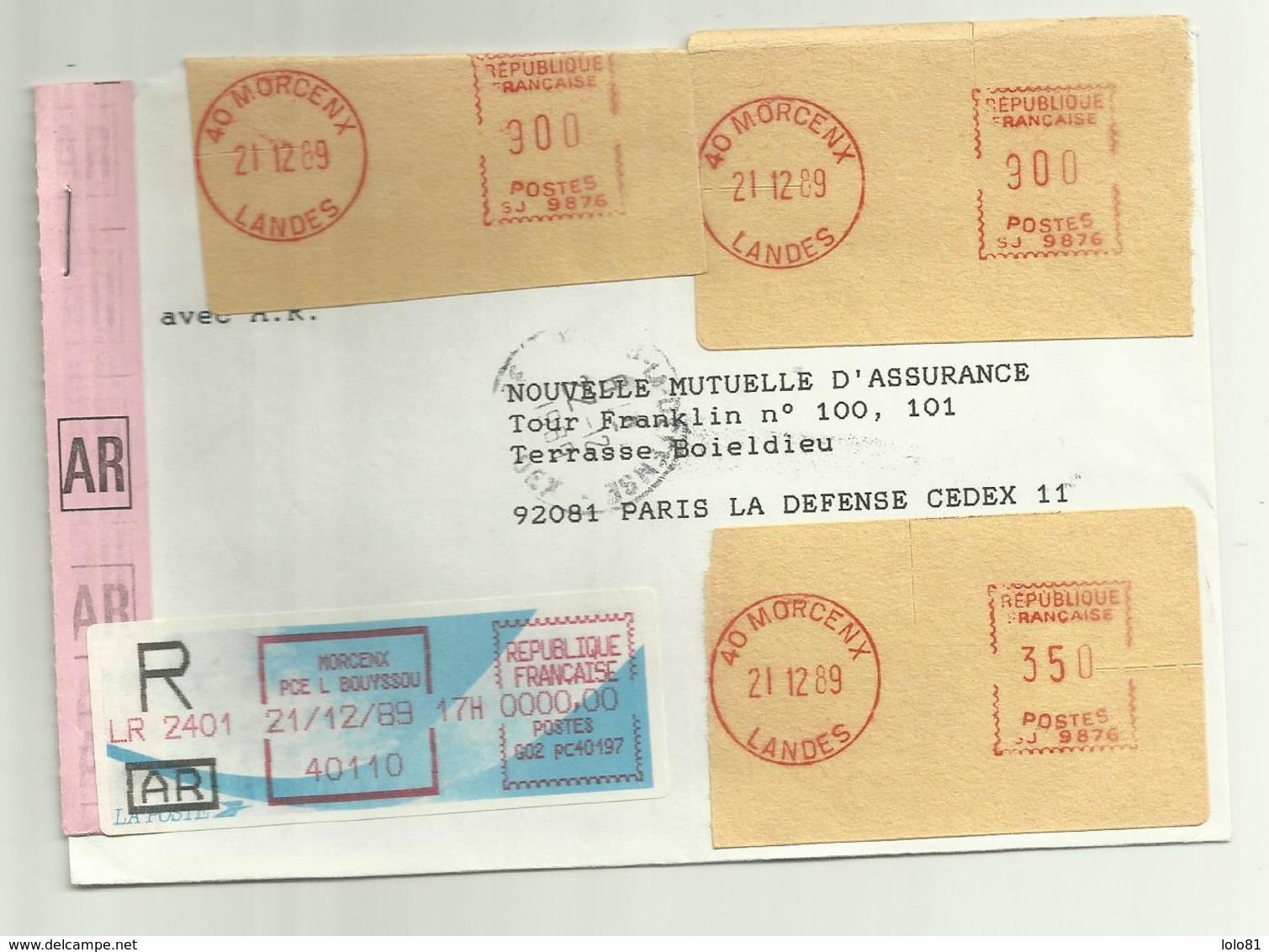 Lettre Recommandée AR Morcenx Pour Paris 1989 - 1961-....
