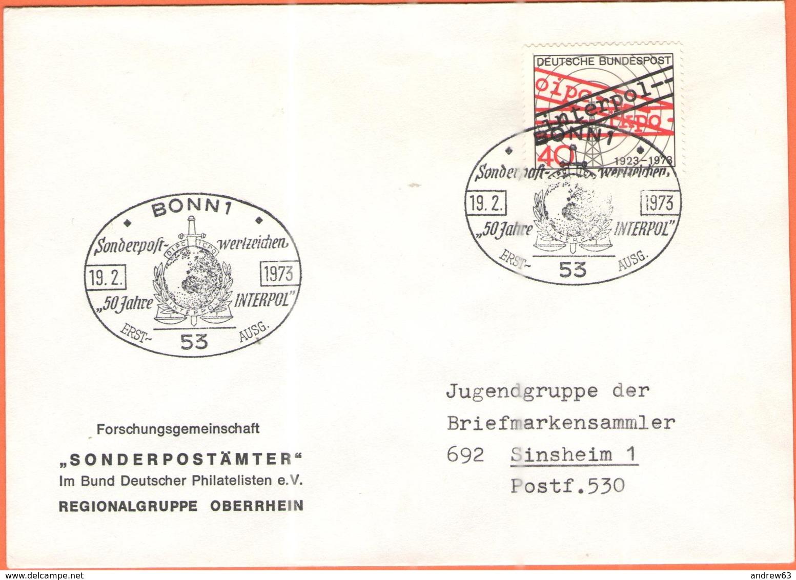 GERMANIA - GERMANY - Deutschland - ALLEMAGNE - 1973 - 50 Jahre Interpol - FDC - Bonn - [7] Repubblica Federale