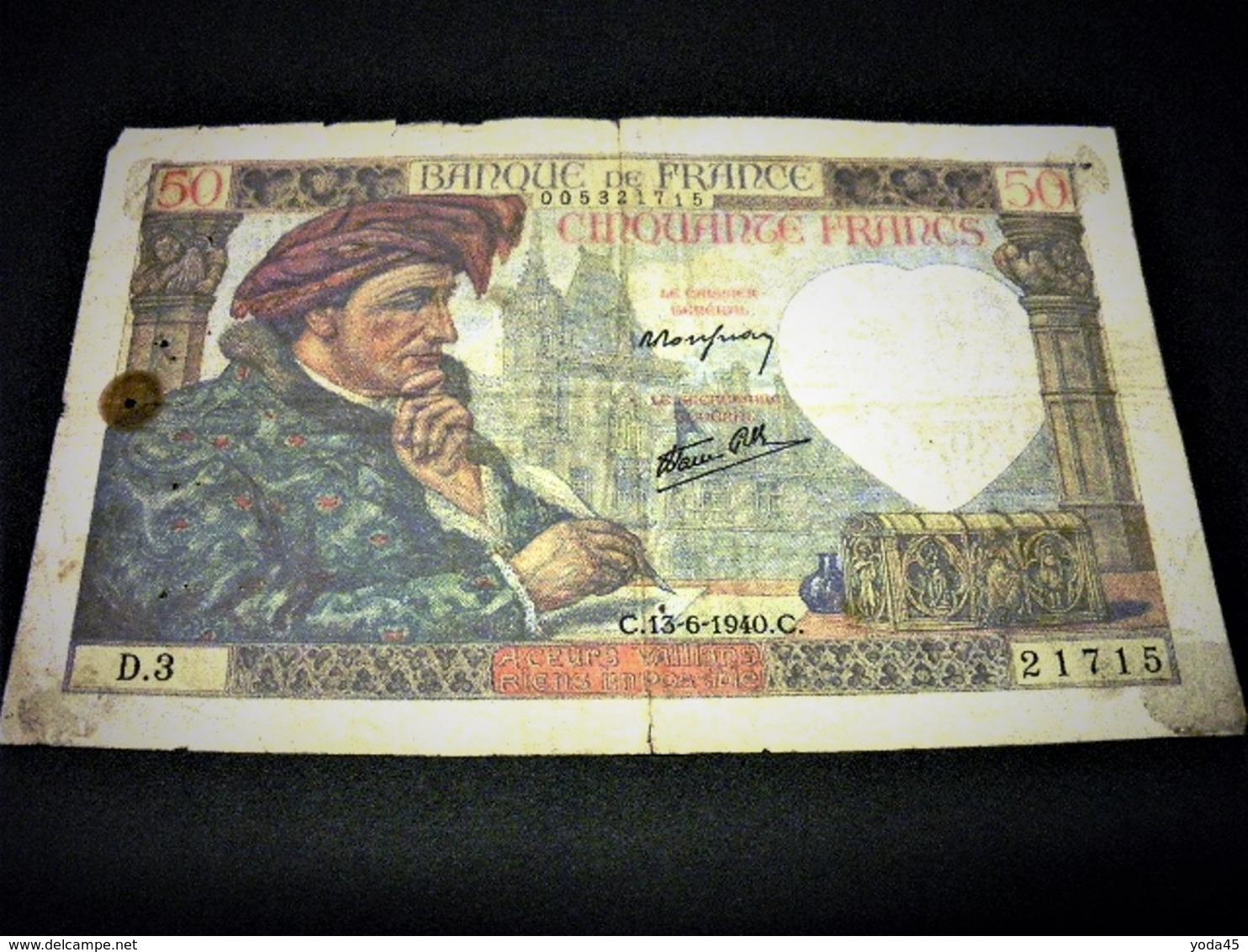 "FRANCE 50 Francs ""Jacques Coeur""  13/06/1941 , Pick N° 93  , FRANCIA ,FRANKREICH - 1871-1952 Antiguos Francos Circulantes En El XX Siglo"
