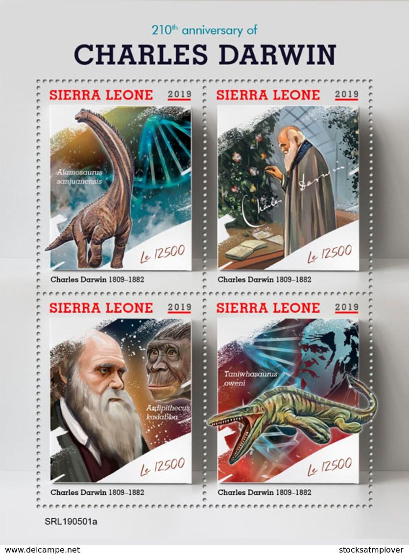 Sierra Leone 2019  Charles Darwin , Dinosaur   S201907 - Sierra Leone (1961-...)