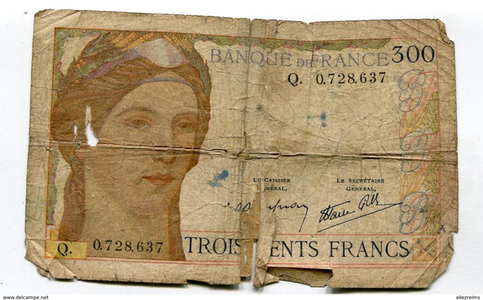 Billet : Banque De France 300 Francs Lettre Q  VOIR  DESCRIPTIF  §§§§§§ - 1871-1952 Antiguos Francos Circulantes En El XX Siglo