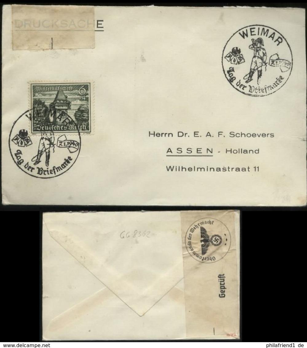 WW II Briefumschlag :gebraucht Mit Sonderstempel Tag Der Briefmarke Weimar - Assen Holland Mit OKW Zensurstreifen 1940 - Germany