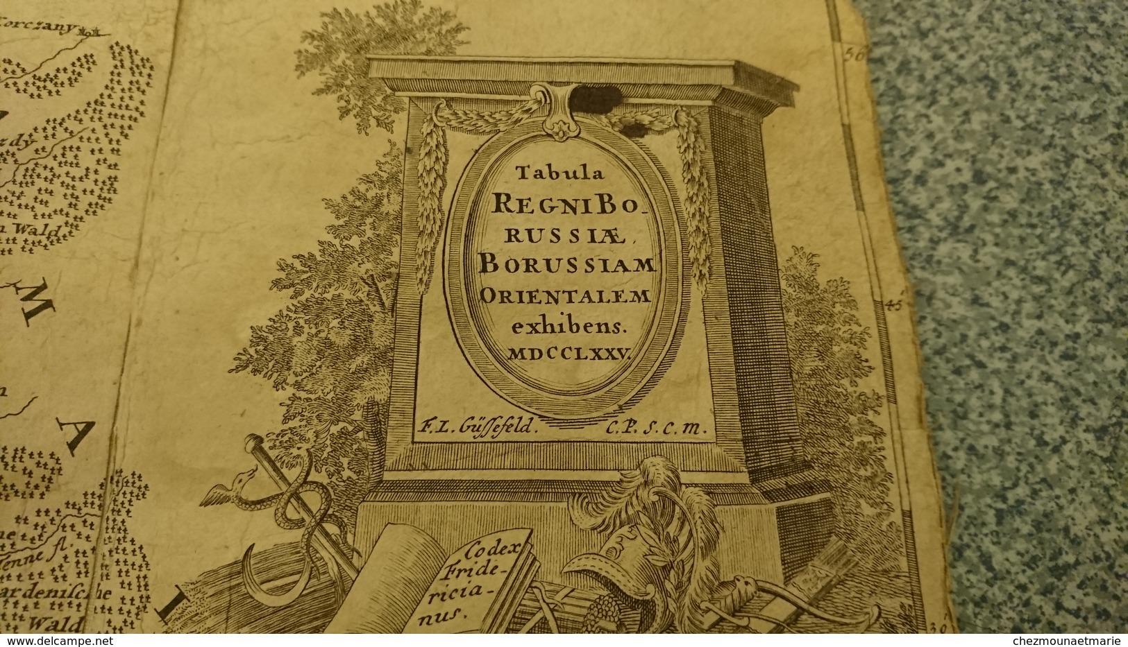 TABULA REGNI BORUSSIAE BORUSSIAM ORIENTALEM EXHIBENS 1775 GUSSEFELD NUREMBERG CARTE PRUSSE - Cartes Géographiques