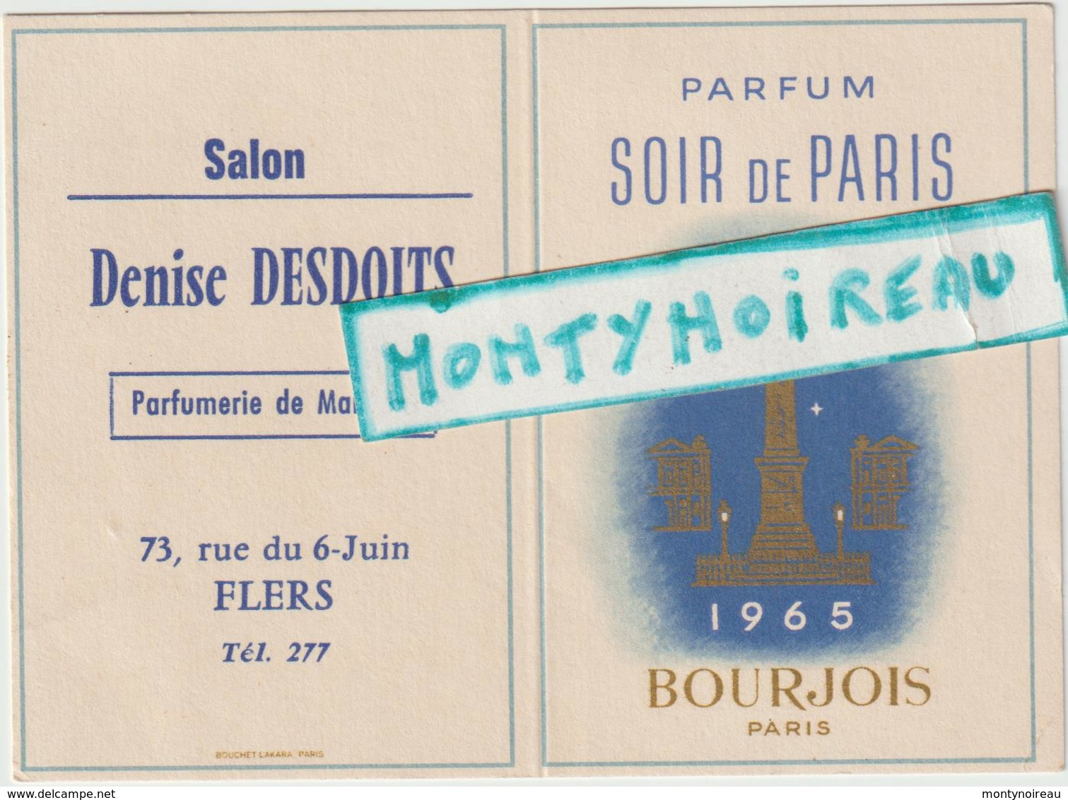"""Vieux  Papier  : Calendrier :  Parfum  """" Soir De  Paris """" Bourgeois , Flers  1965 - Calendriers"""