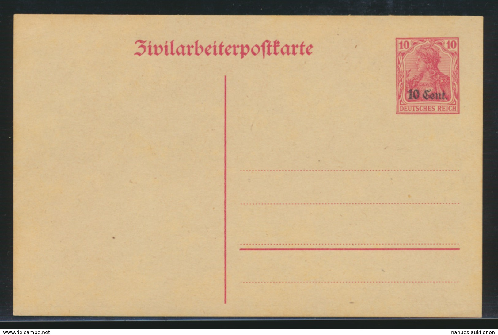 Besetzung 1914-18 Ganzsache Etappengebiet West Zivilarbeiterpostkarte P 6 Kat.14 - Besetzungen 1914-18