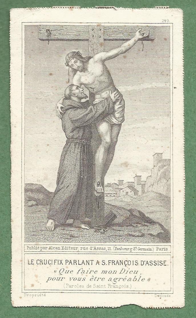 """Image Religieuse XIXème - """"Le Crucifix Parlant à St François D'Assise"""" - Imprimé Alcan, Paris - Religion & Esotérisme"""