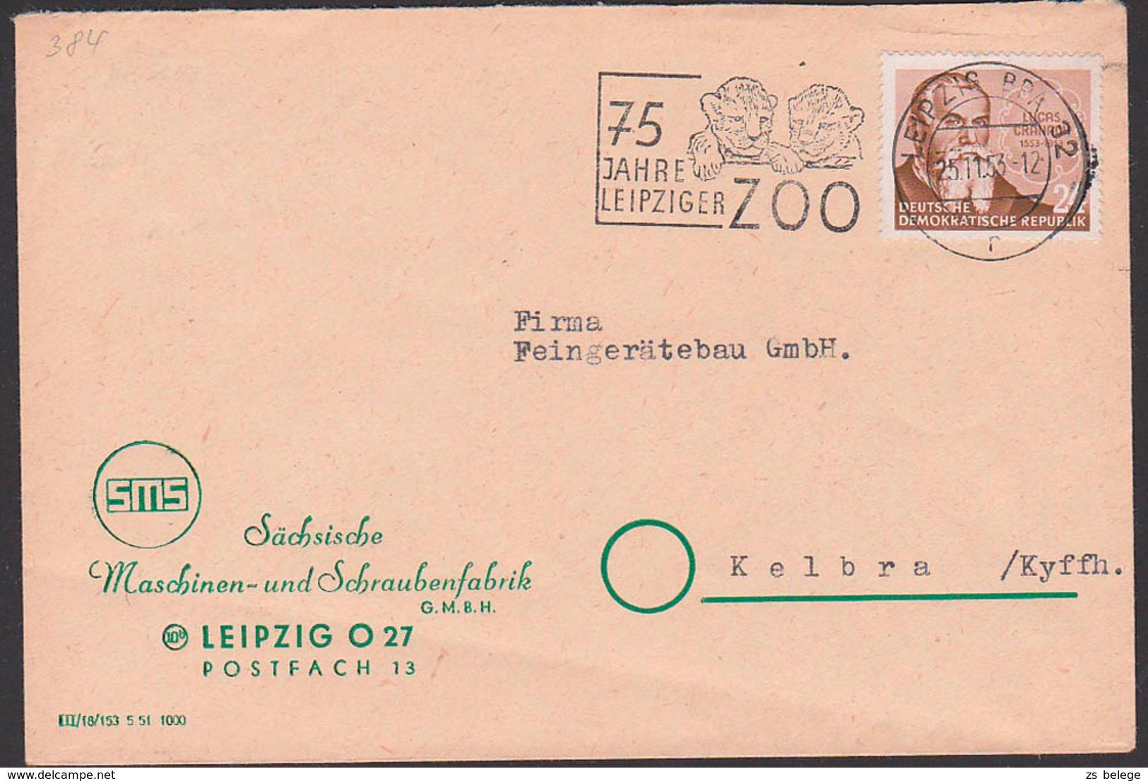 Leipzig MWSt. 75 Jahre Leipziger Zoo, Löwe, Leo, Löwenkinder, DDR 384 24 Pfg. Lucas Cranach D. Ältere - DDR