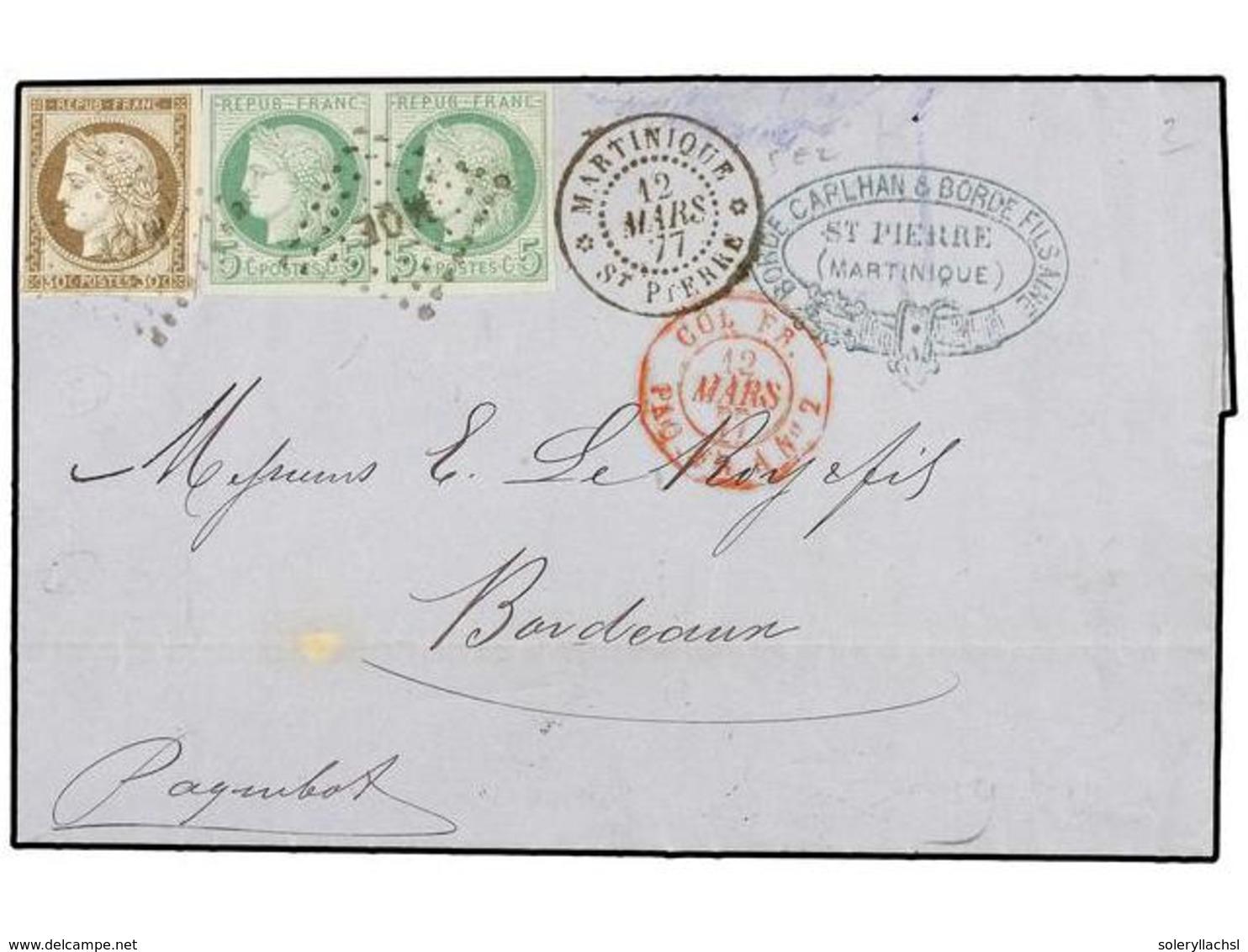 MARTINICA. 1877. ST. PIERRE A FRANCIA. 5 Cts. Verde Pareja Y 30 Cts. Castaño, Mat. Parrilla MQE Y Fechador Octogonal En  - Unclassified