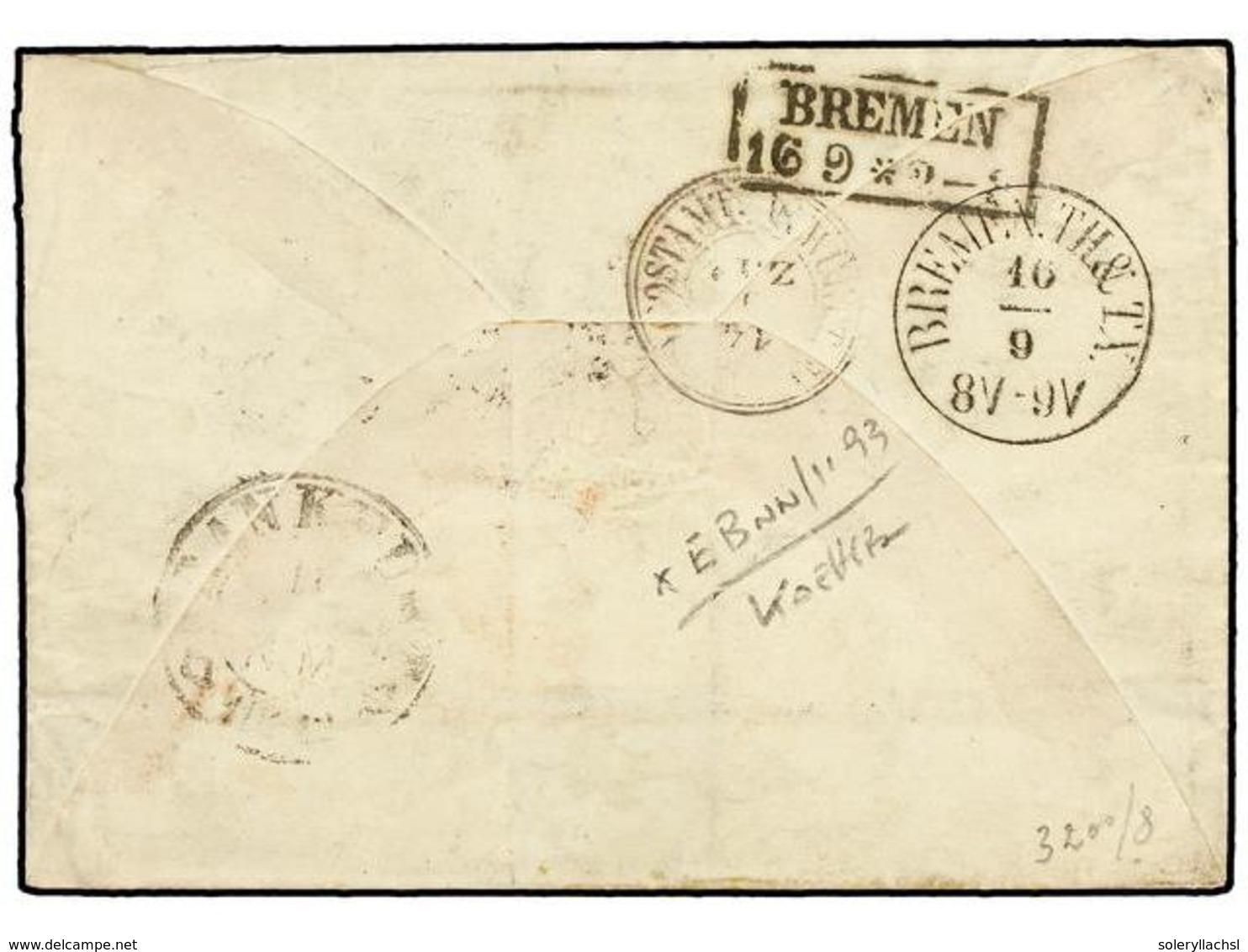 ALEMANIA ANTIGUOS ESTADOS: WURTEMBERG. Mi.25, 26, 29. 1864. STUTTGART To CHICAGO (.U.S.A.). Envelope Franked With 1 Kr.  - Non Classés