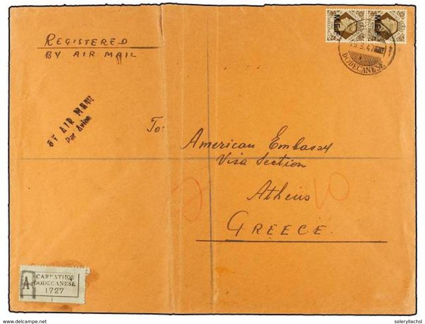 ITALIA: EGEO (Colonia Italiana). Sa.10, 13 (2). 1947 (15-III). CARPATHOS A ATENAS (Grecia). 1 Sh. Castaño (2) Y 5 D. Cas - Unclassified