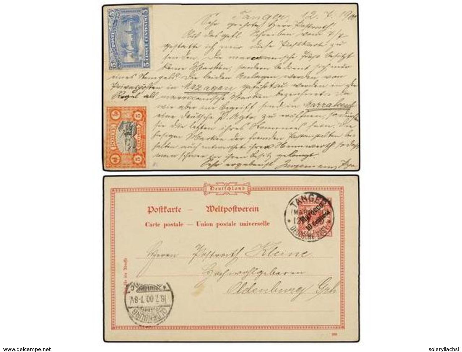 MARRUECOS: CORREO LOCAL. 1900. TANGER A OLDEMBURG (Alemania). Entero Postal De 10 Cts. S. 10 Pf. Al Dorso Sellos De Los  - Unclassified