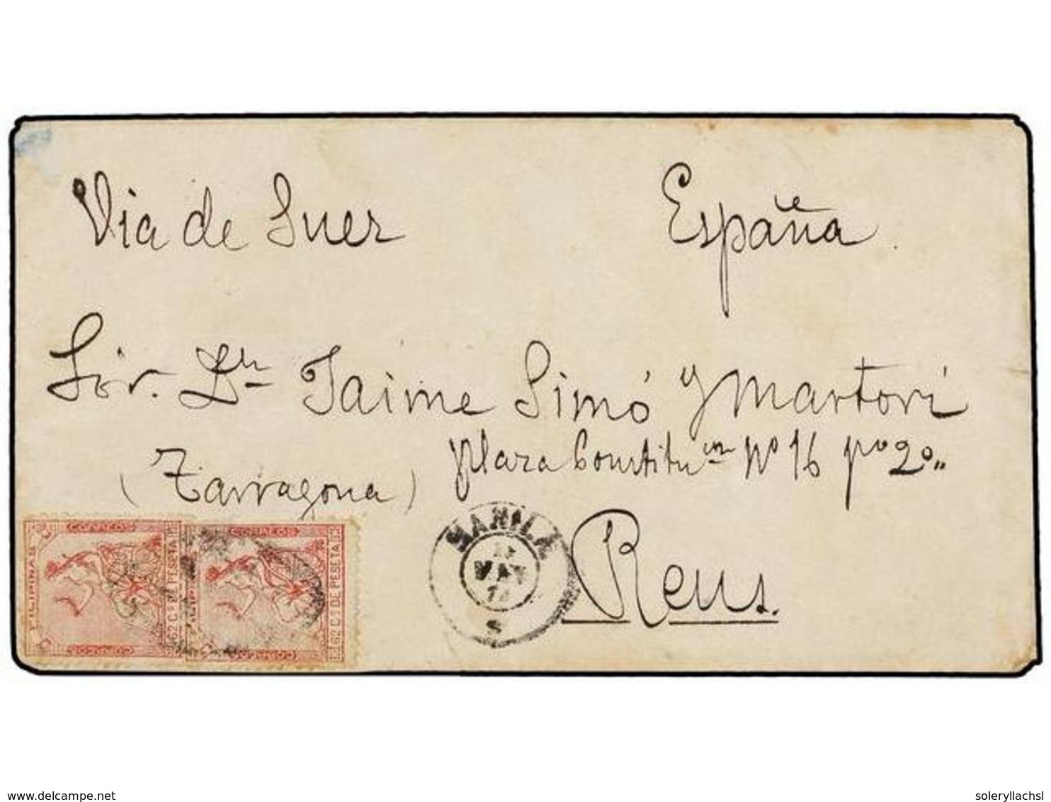 FILIPINAS. Ed.32 (2). 1874. MANILA A ESPAÑA. 62 Cts. Rojo (2), Mat. PARRILLA COLONIAL Y Fechador MANILA/*.  Al Dorso Lle - Non Classés