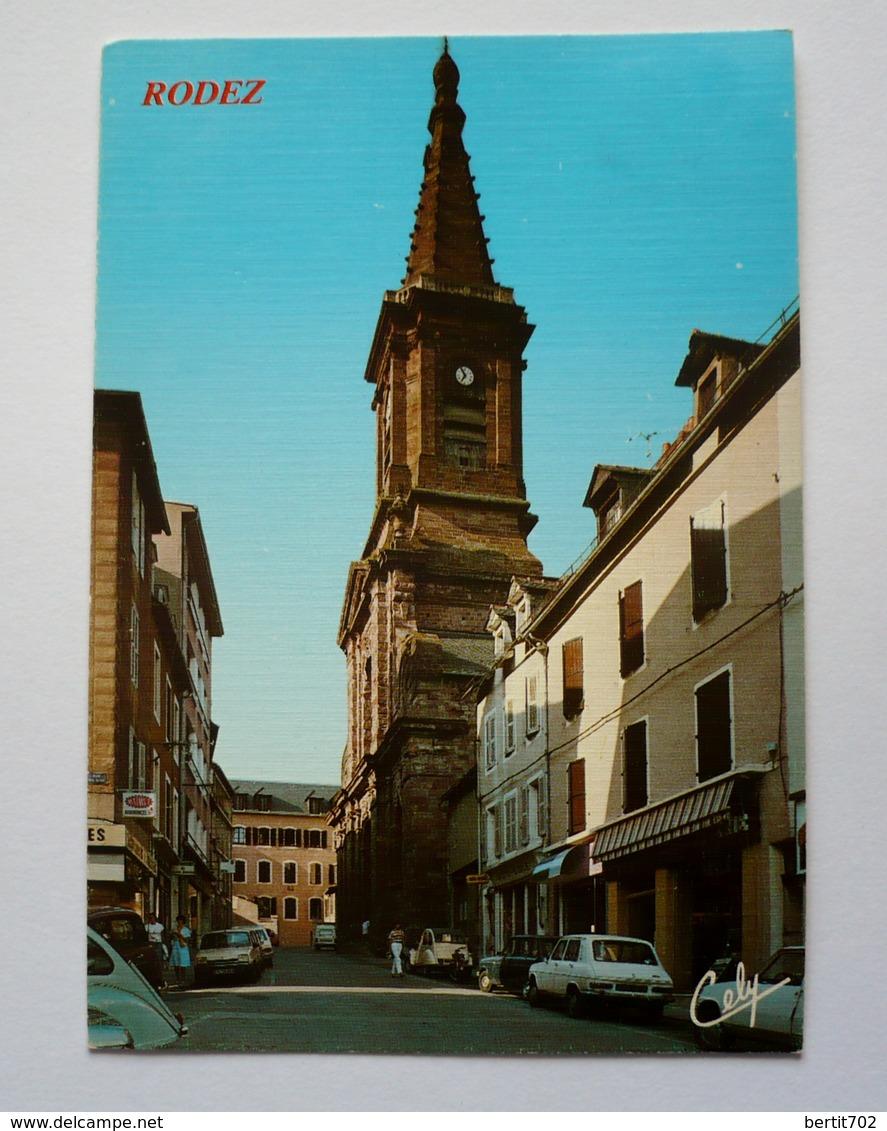 12 -  Cpsm Grand  Format -  RODEZ - L'église ST AMANS - Autos Anciennes - Rodez