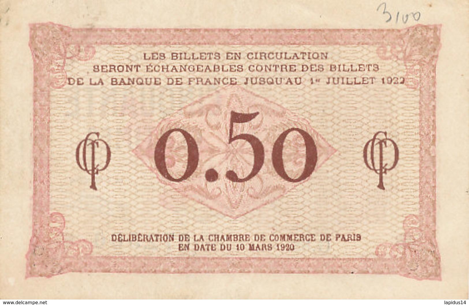 BILLET CHAMBRE DE COMMERCE DE PARIS  CINQUANTE CENTIMES 10 MARS 1920 - Cámara De Comercio