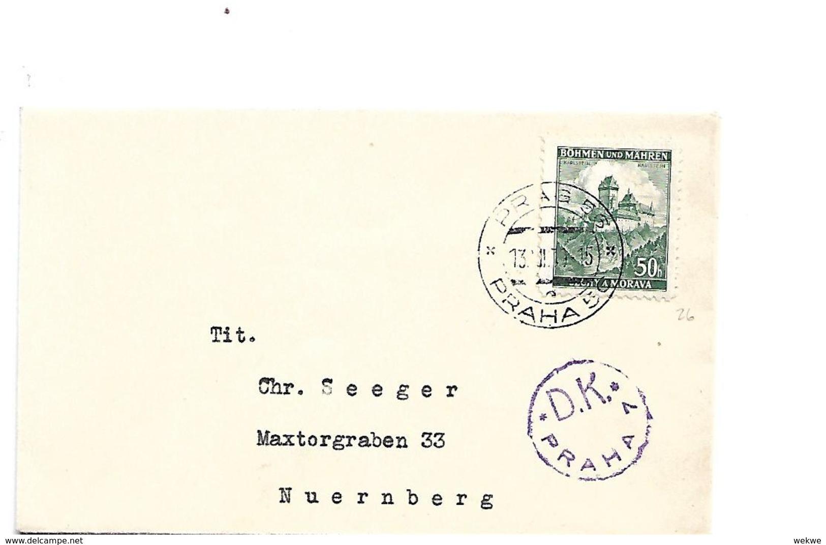 TSC288 / CSSR - Drucksache 1939, Prag - Nürnberg Mit Devisenkontrolle - Cartas