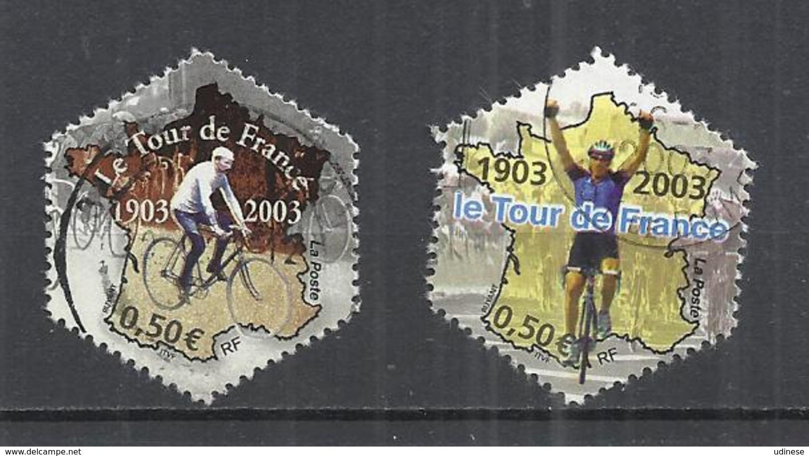 FRANCE 2003 - CENTENARY OF TOUR DE FRANCE - USED OBLITERE GESTEMPELT USADO - CACHET ROND - Cycling