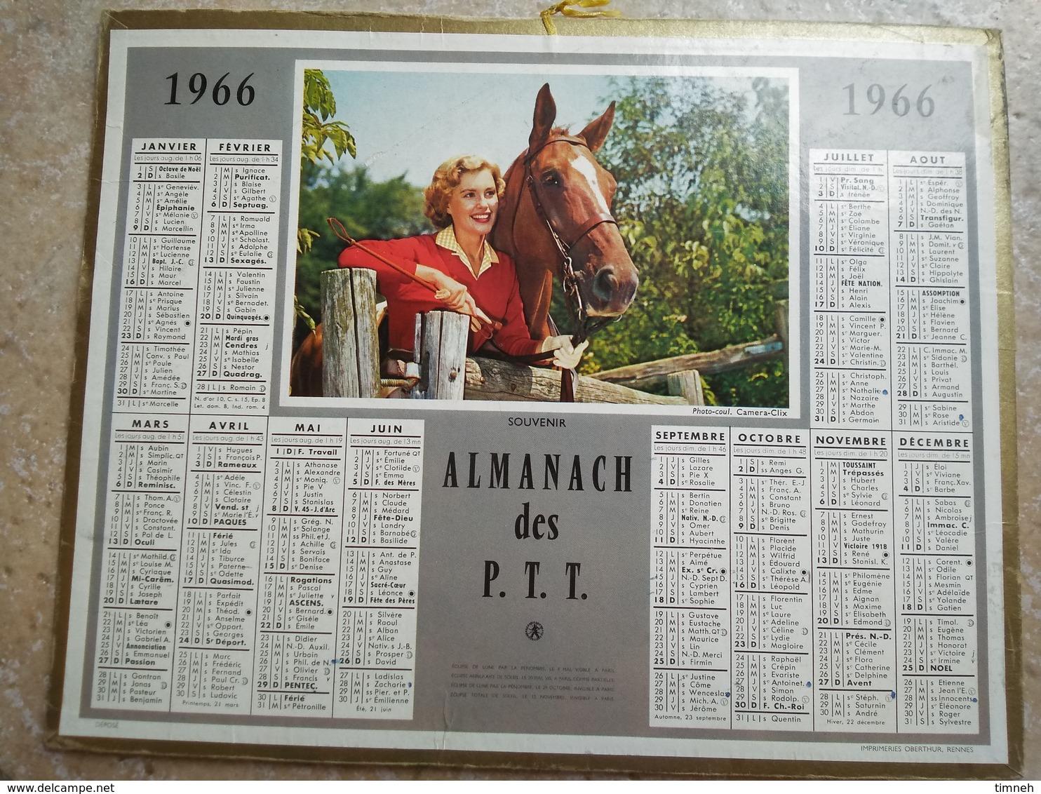 1966 - ALMANACH DES P.T.T OBERTHUR -  LA SEINE - 1966 - SOUVENIR - FEMME ET CHEVAL - Grand Format : 1991-00