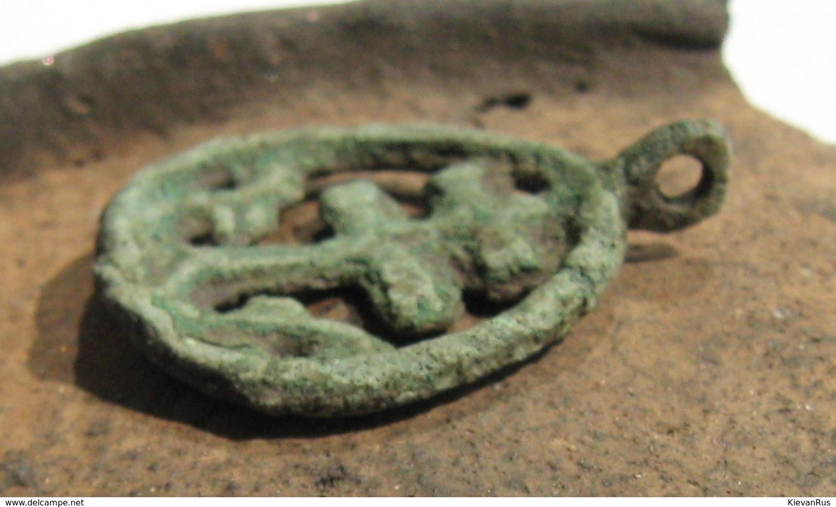Ancient Vikings Bronze Amulet Pendant 10-13th Century - Archeologia