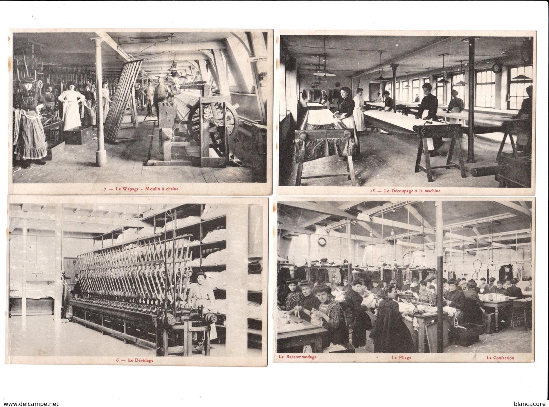 CALAIS Industrie De La Dentelle / Réunion De 4 Cartes Dentellerie - Calais
