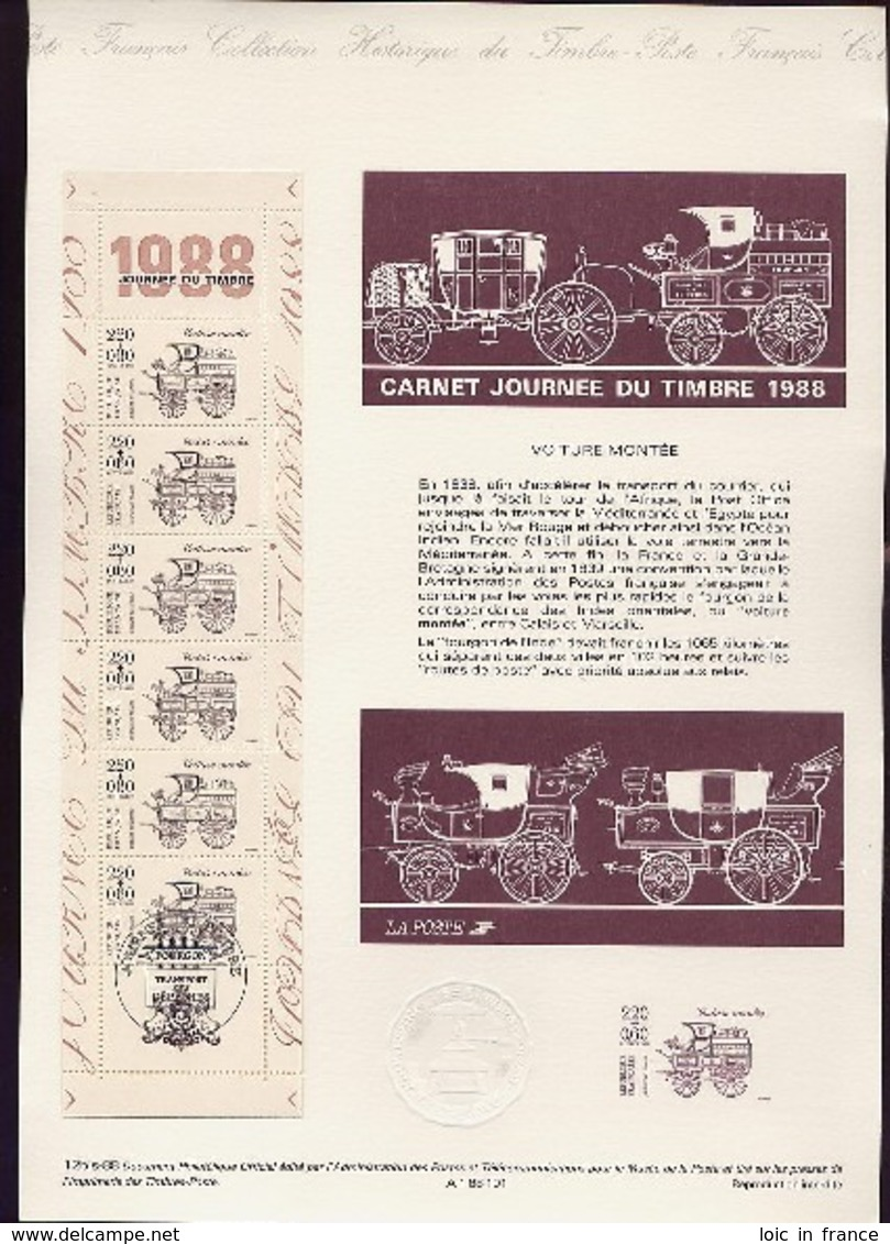 Document Officiel Journée Du Timbre 1988 Carnet Complet - Stamp's Day