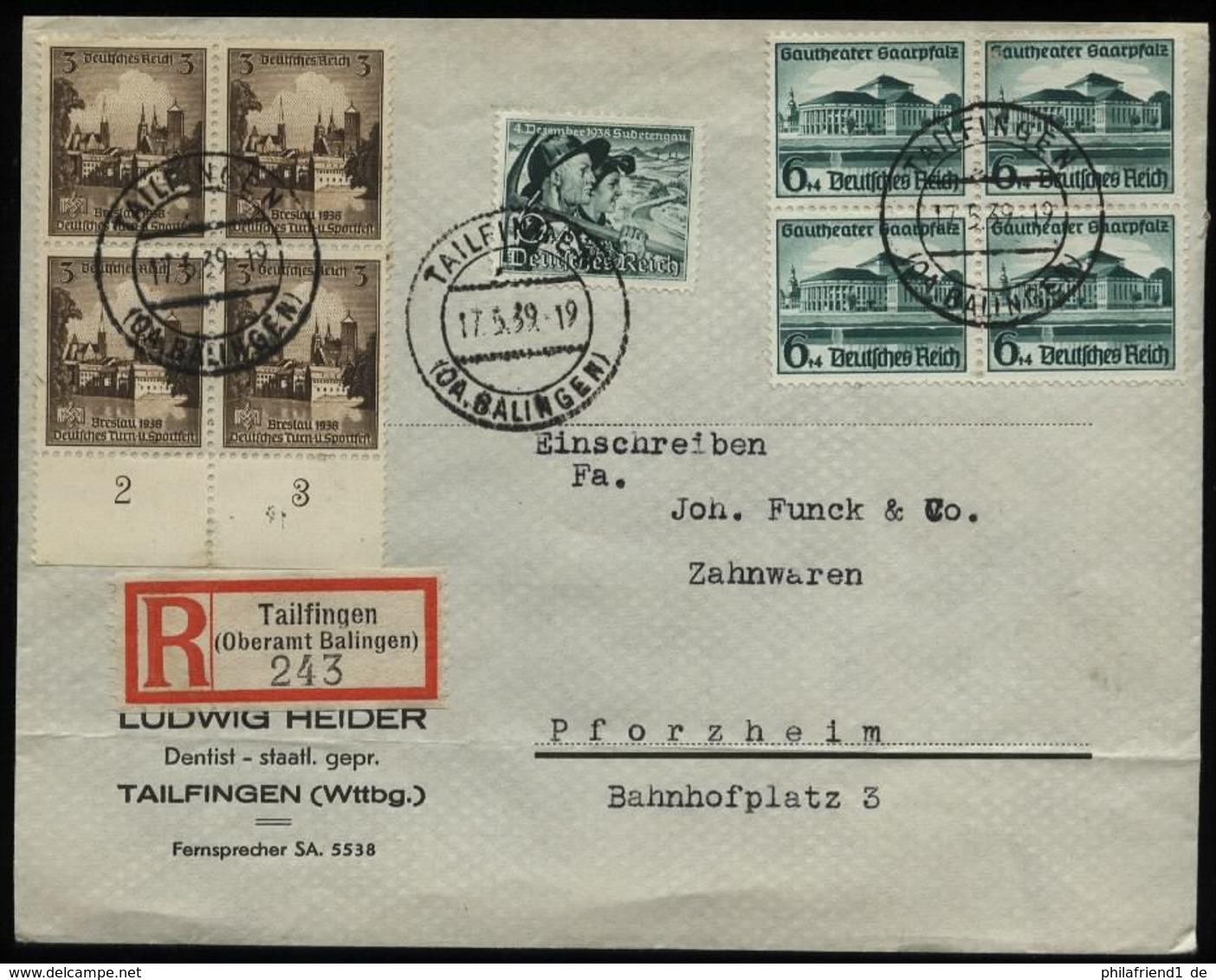 WW II DR 3 Pfg Breslau + 6 Pfg Gautheater 4 Er Block Briefmarken MiF Auf R - Briefumschlag : Gebraucht Tailfingen - Pf - Germany