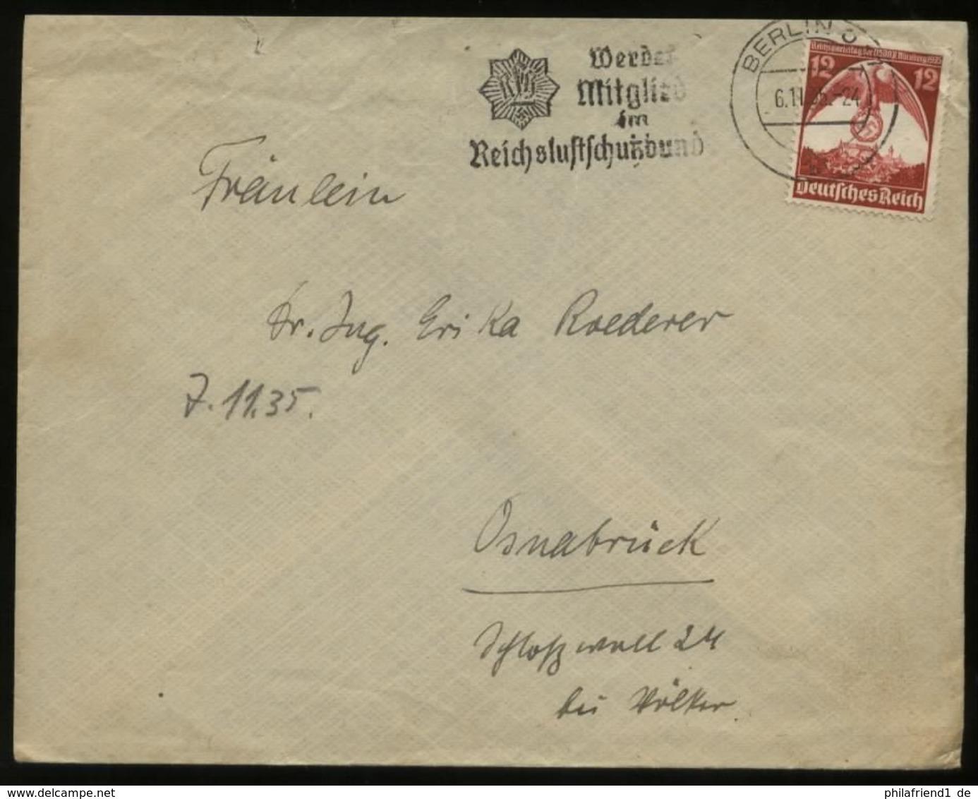 WW II DR Briefumschlag: Mit Reichsparteitag Sonderbriefmarke Gebraucht Mit Werbestempel Luftschutz Berlin - Osnabrück - Germany