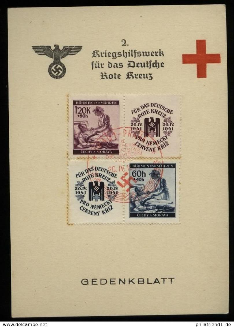 WW II DR Böhmen Und Mähren Gedenkblatt Karte Rotes Kreuz: Gebraucht Mit Hitler Geburtstag Sonderstempel Prag 20.4.1941 - Germany