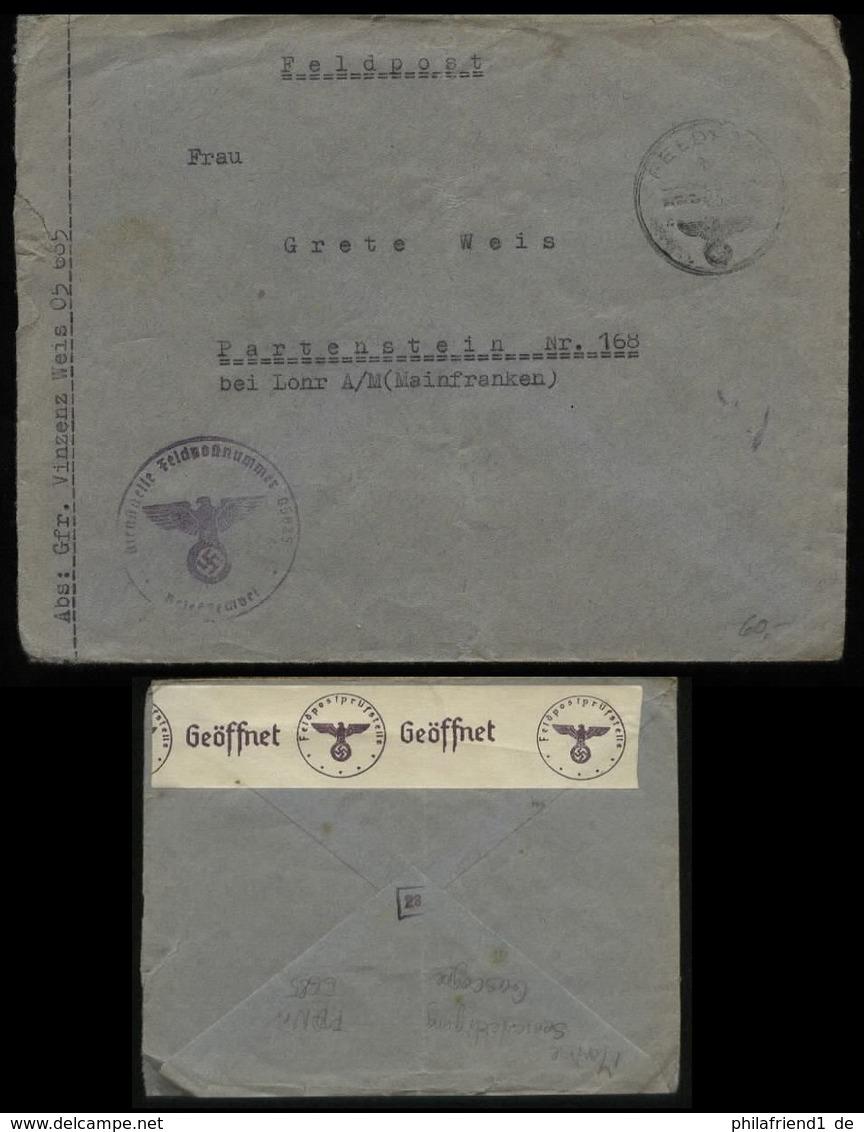 WW II DR Frankreich Feldpost Briefumschlag Mit Zensur: Gebraucht Feldpost Nr. 05685 Marine Seeverteidigung Gascogne - - Germany