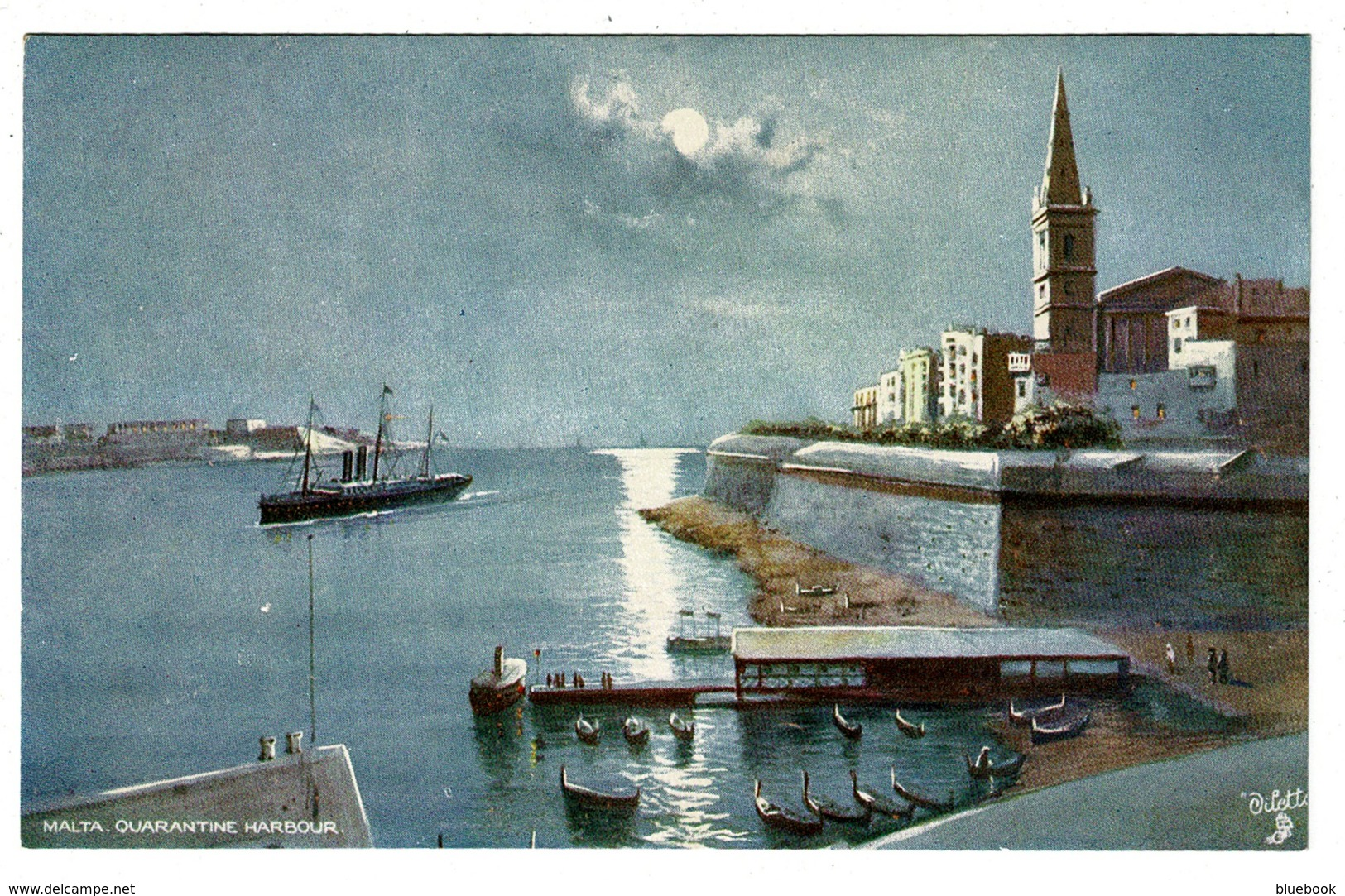 Ref 1325 - Early Raphael Tuck Postcard - Quarantine Harbour Malta - Malta