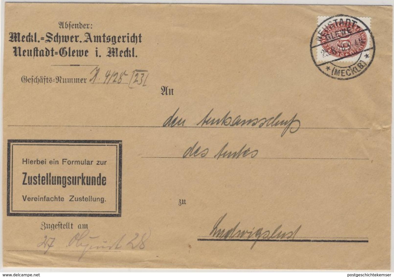 DR-Dienst - 60 Pfg. Strohhut Zustellurkunde Neustadt-Glewe - Ludwigslust 1928 - Dienstpost