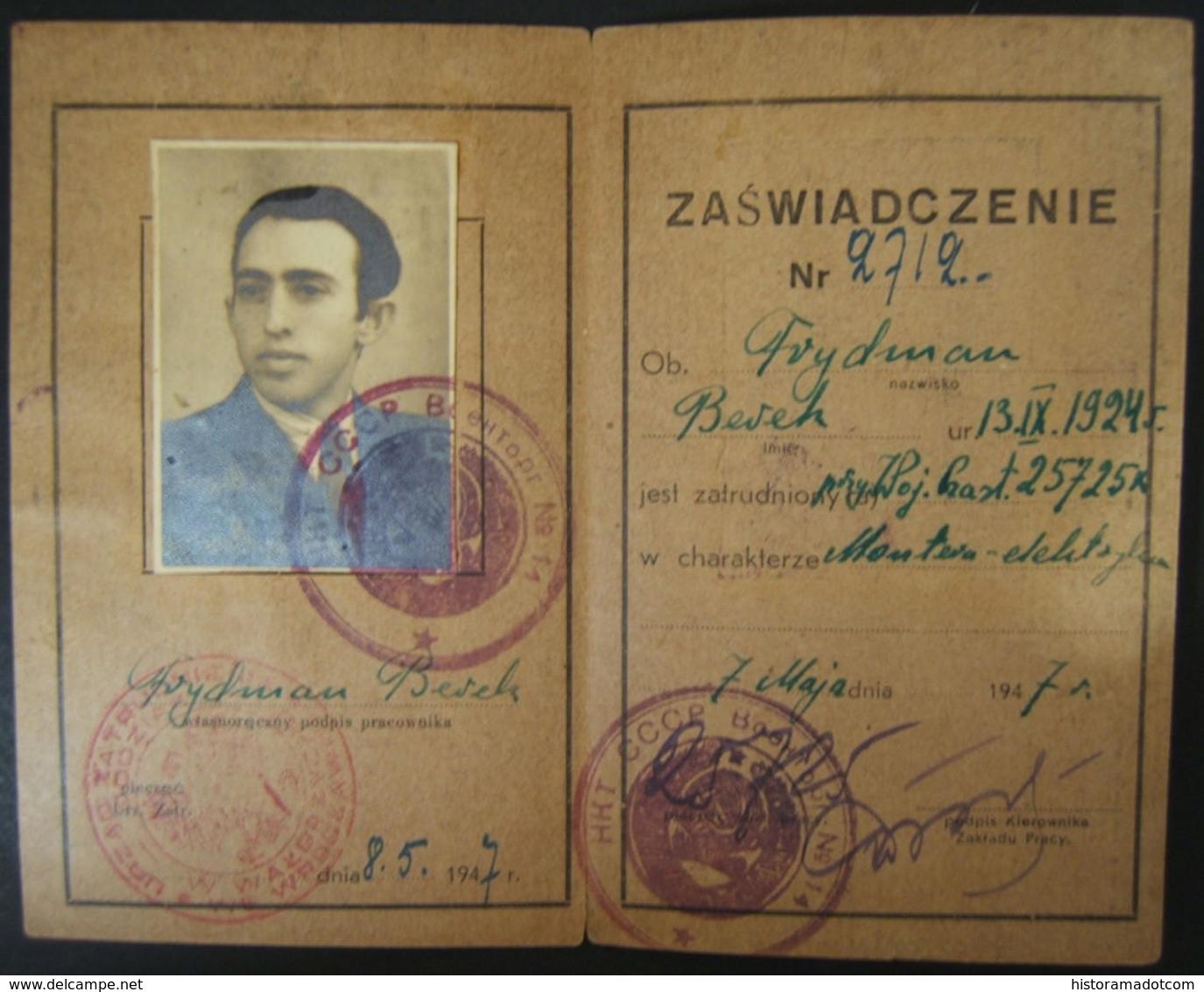 3x Soviet-Polish Holocaust Survivor Post-WWII Documents, 1946-47 - Guerre Mondiale (Seconde)