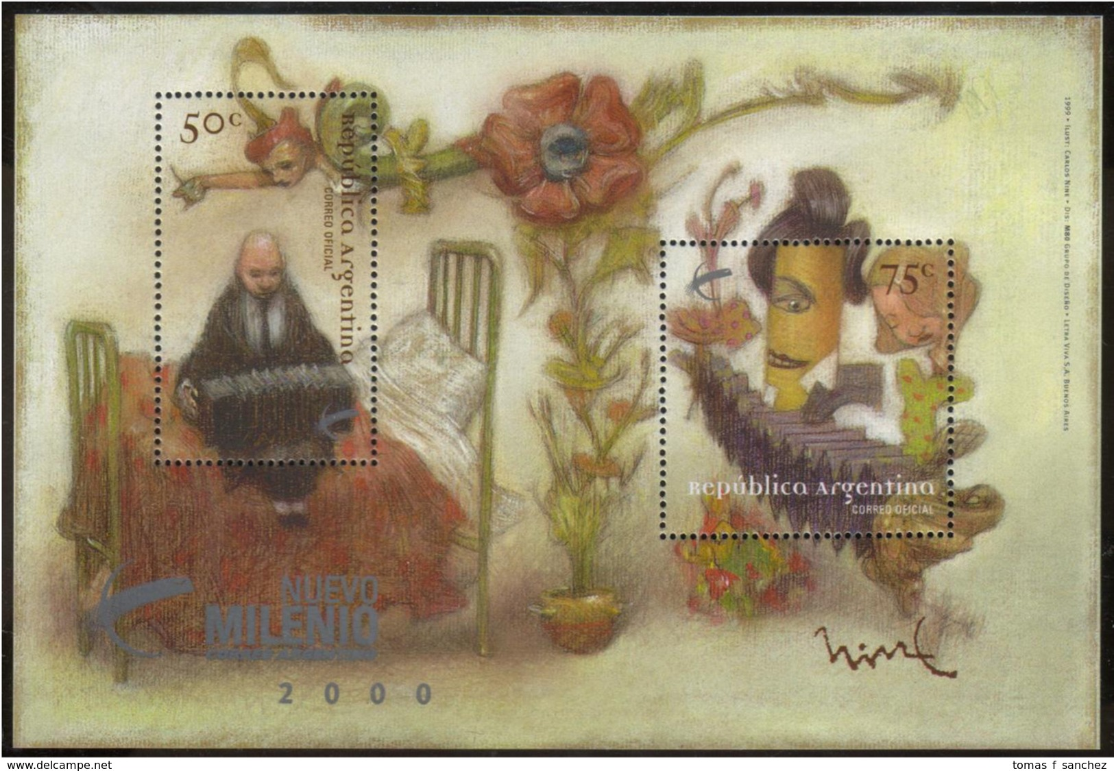 Argentina - 1999 - Musique Populaire - Tango - Bandoneon - Blocks & Kleinbögen