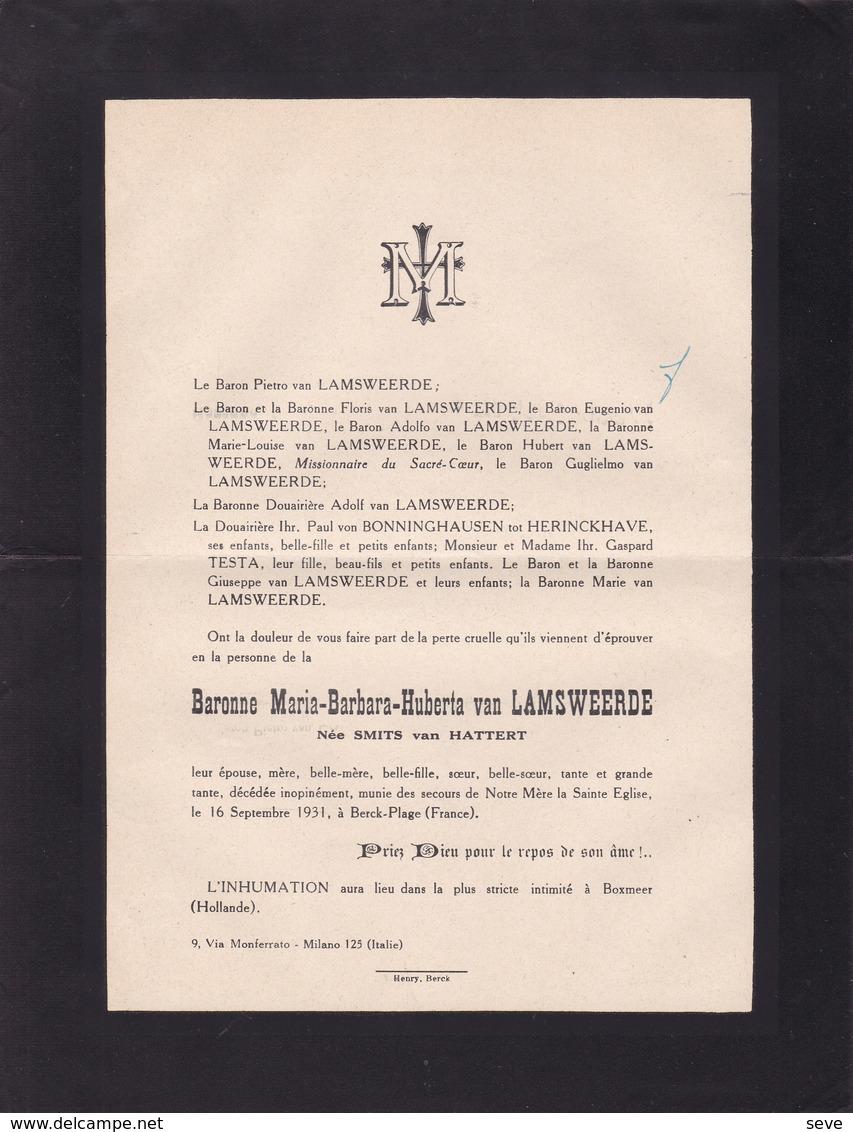 BOXMEER Baronne Maria-Barbara Van LAMSWEERDE Née SMITS Van HATTERT 1931 Famille Von BONNINGHAUSEN - Overlijden