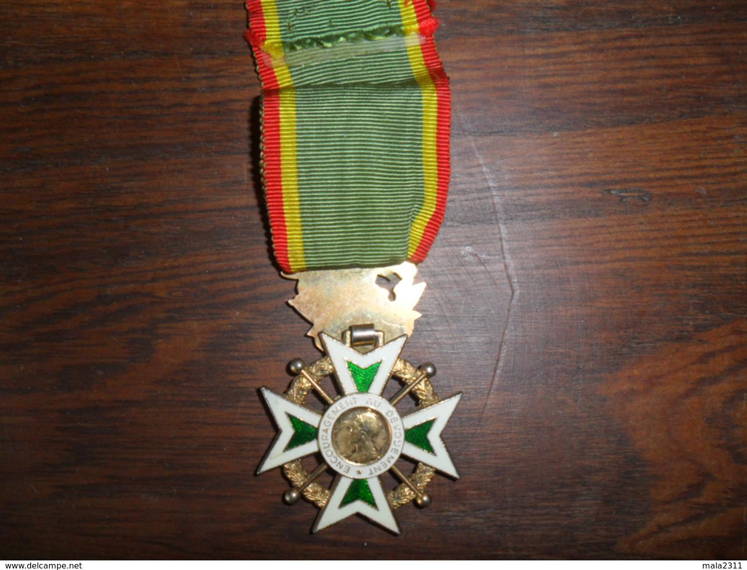 ANCIENNE DECORATION ORIGINE ??  / INSCRIP. ENCOURAGEMENT AU DEVOUEMENT - Médailles & Décorations