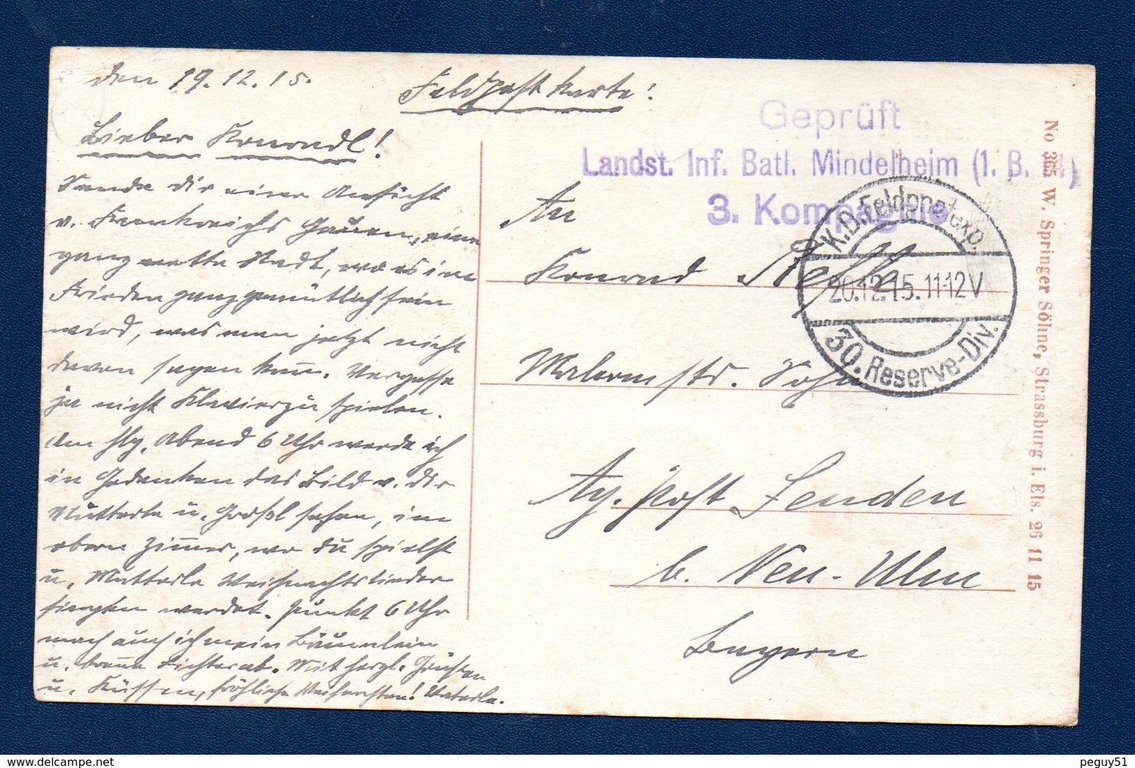 88. Senones. Winter 1915/16. Feldpost Der 30. Reserve Division. Censure Landsturm Inf. Batl. Mindelheim (1.B.14).1915 - Senones