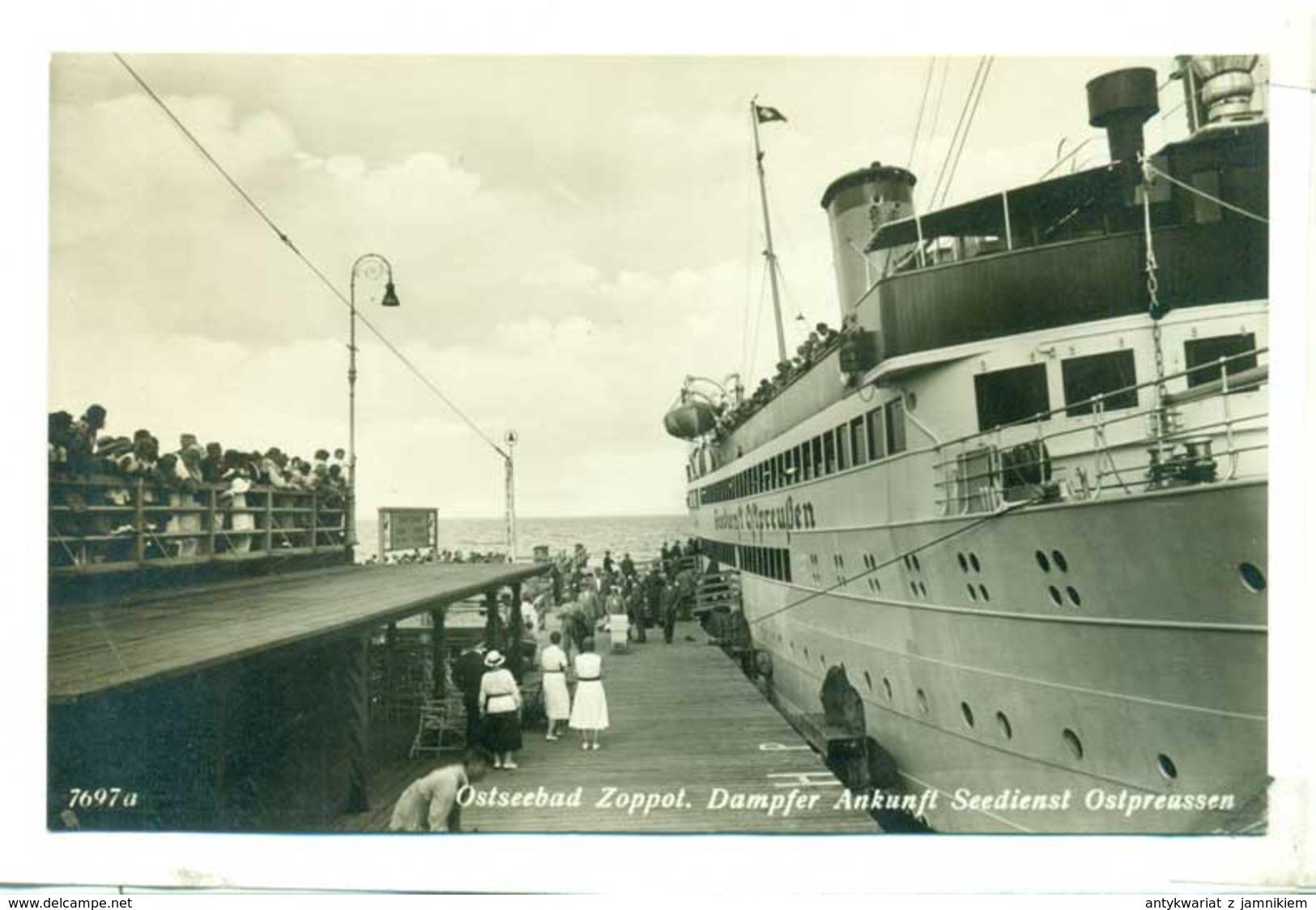 Sopot Ostseebad Zoppot Dampfer Statek Ok 1930 R - Poland
