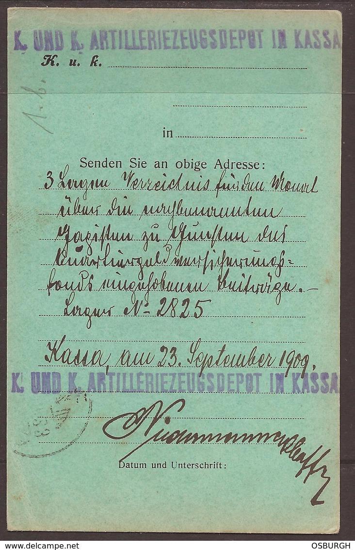 AUSTRIA / HUNGARY/ CROATIA. OSIJEK / ESSEG FORTRESS. PRE WW1 MILITARY POST. ARTILLERY DEPOT BASED IN KASSA. 1909. CARD W - Covers & Documents