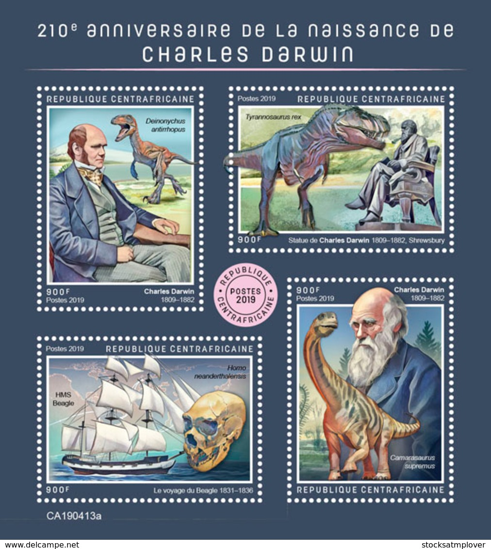 Central Africa   2019 Charles Darwin  ,dinosaurs  S201907 - Central African Republic
