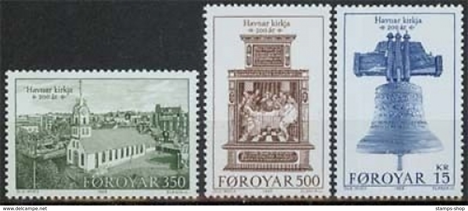 Färöer MiNr. 179/81 **, Kirche - Färöer Inseln