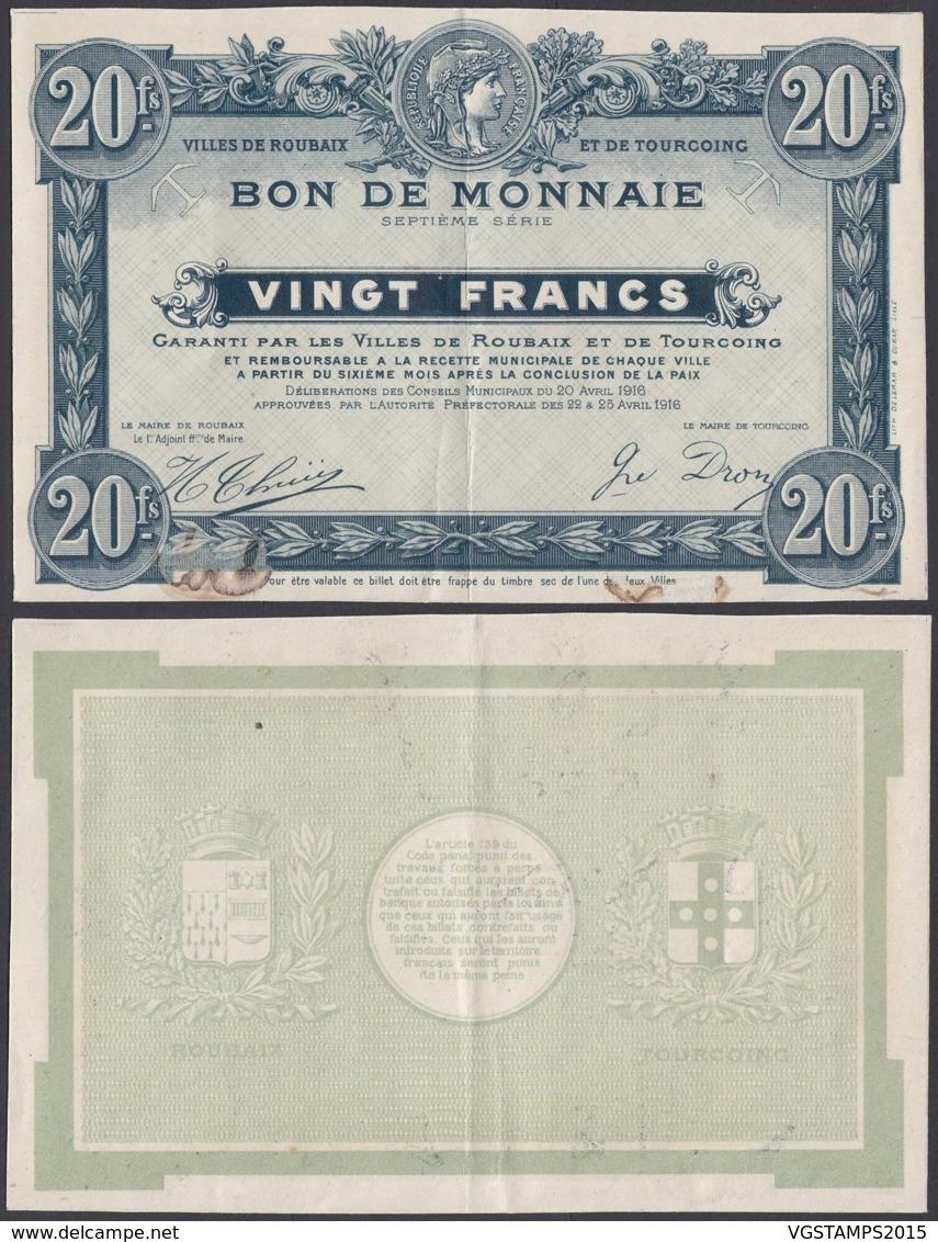 FRANCE BILLET VILLES DE ROUBAIX ET TOURCOING 20 Frs 1916 (DD) DC-3903 - Bonos