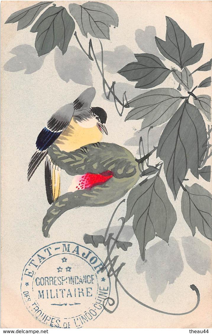 ¤¤  - Illustrateur  -  OISEAU , Fleurs  -  Tampon De L'Etat-Major Des Troupes De L'INDOCHINE En 1916  -  ¤¤ - Birds