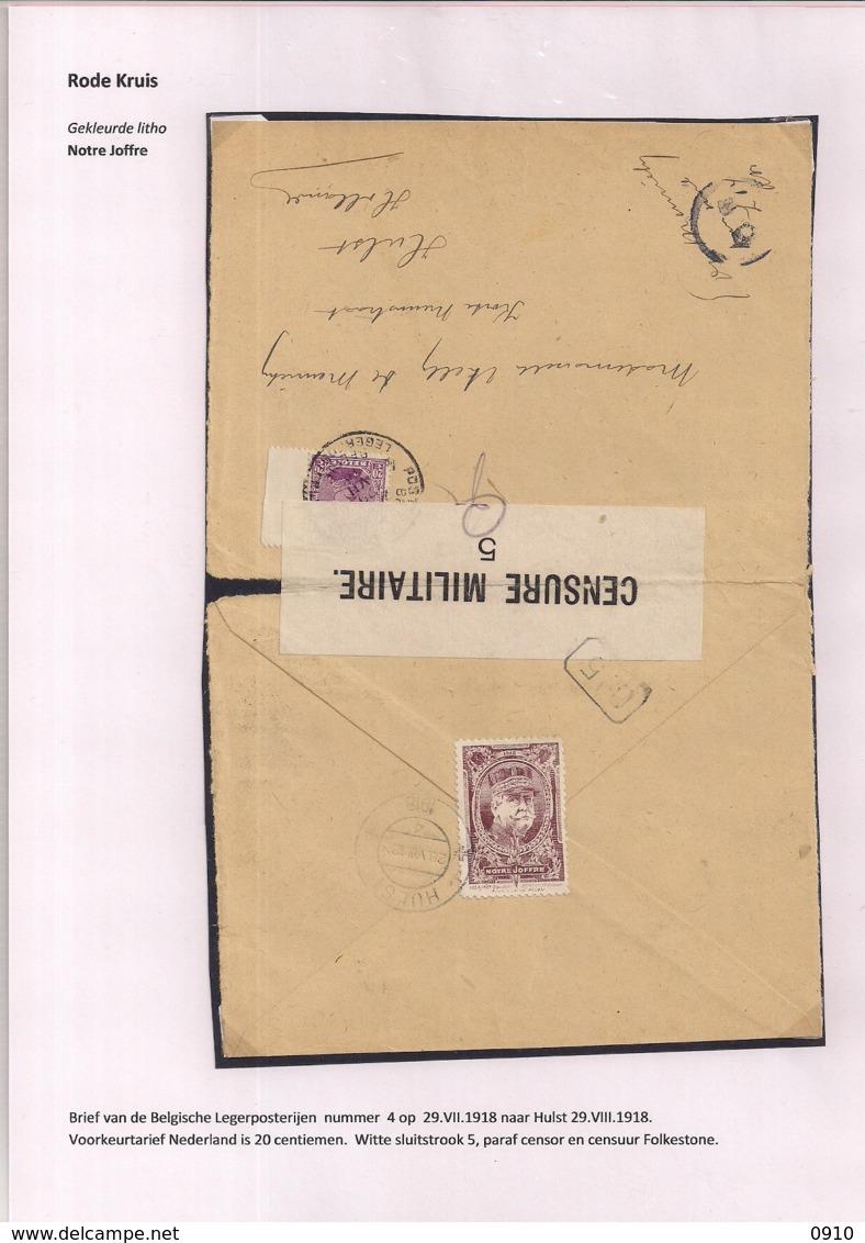 BRIEFOMSLAG LEGERPOSTERIJ 4 OP 29.VII.1918 NAAR HULST -WITTE SLUITSTROOK 5 PARAF CENSOR EN CENSUUR FOLKESTONE - Guerre 14-18