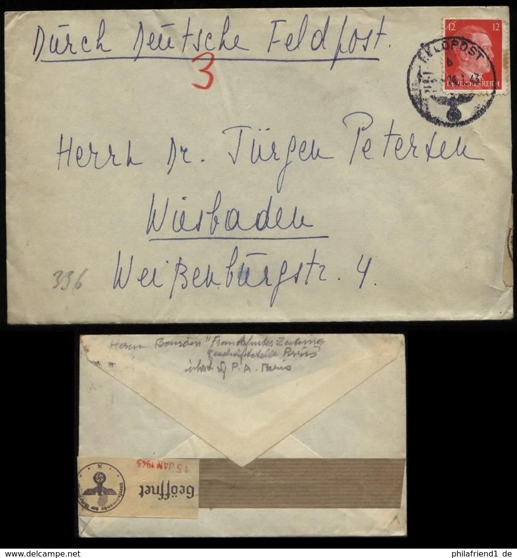 WW II DR Hitler Frankreich Feldpostbrief Mit Zensur: Gebraucht Feldpost Frankfurter Zeitung Paris - Wiesbaden 1943, Be - Germany