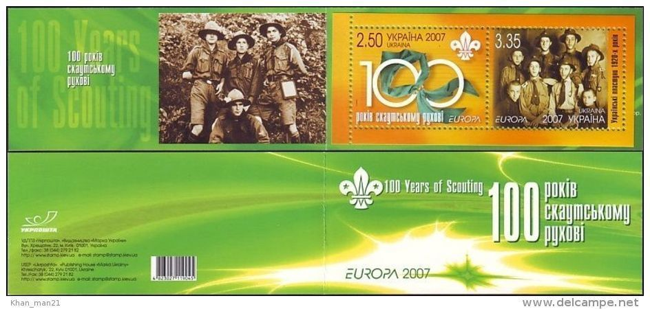 Ukraine, 2007, Mi. 858-59 (MH 9), Y&T C784, Sc. 681, Europa, Centenary Of Scouting, Booklet - Europa-CEPT