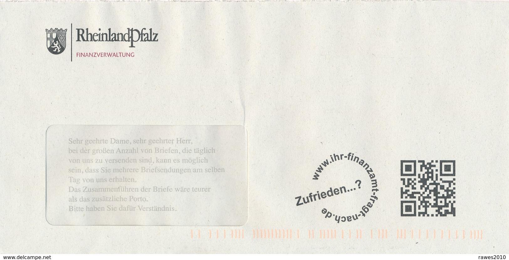 BRD Mainz Finanzverwaltung RheinlandPfalz Wappen Löwe QCR-Code Zufrieden ...? - Briefe U. Dokumente