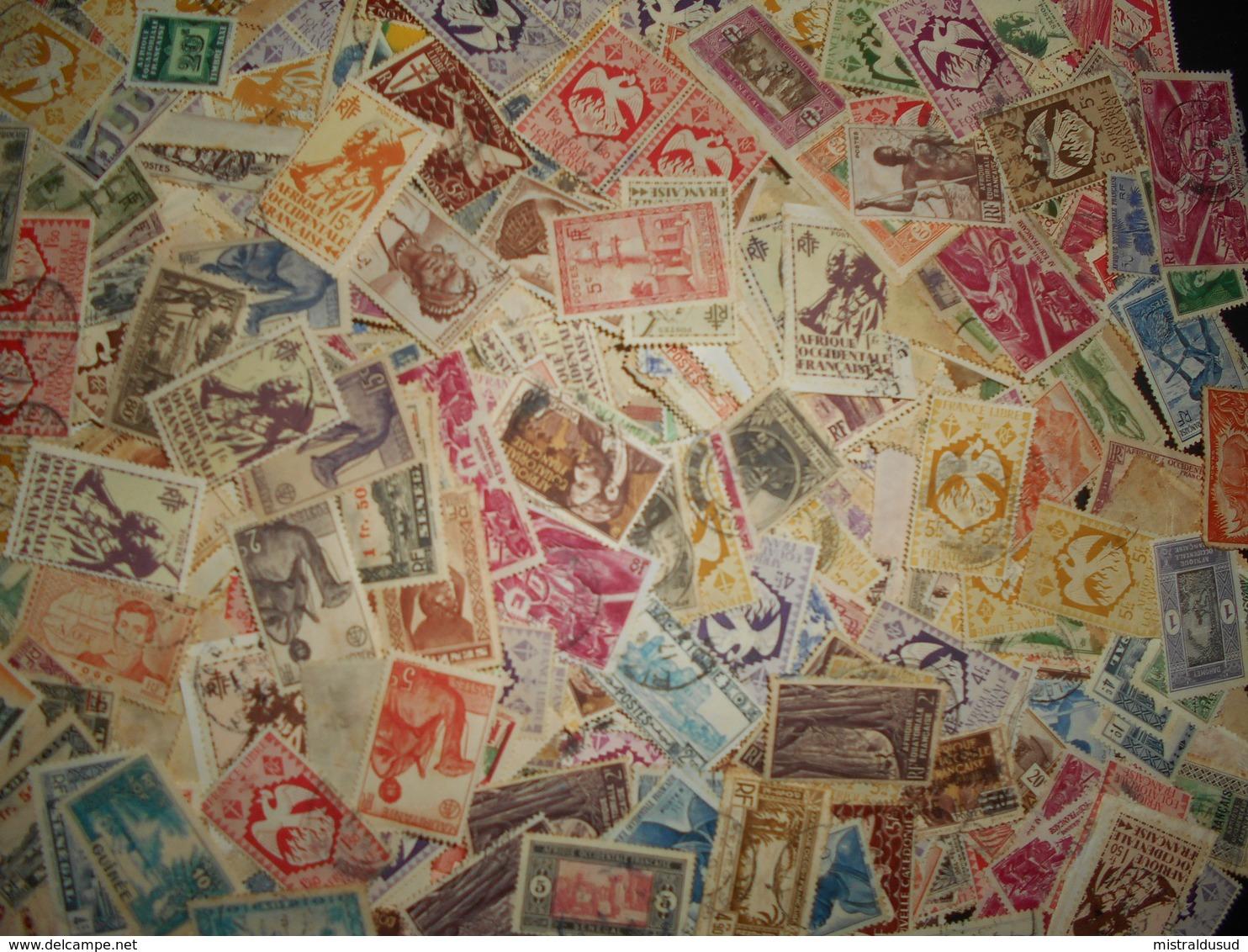 Collection , çolonies Françaises Environ 100 Gr Timbres Obliteres, Neufs - Stamps