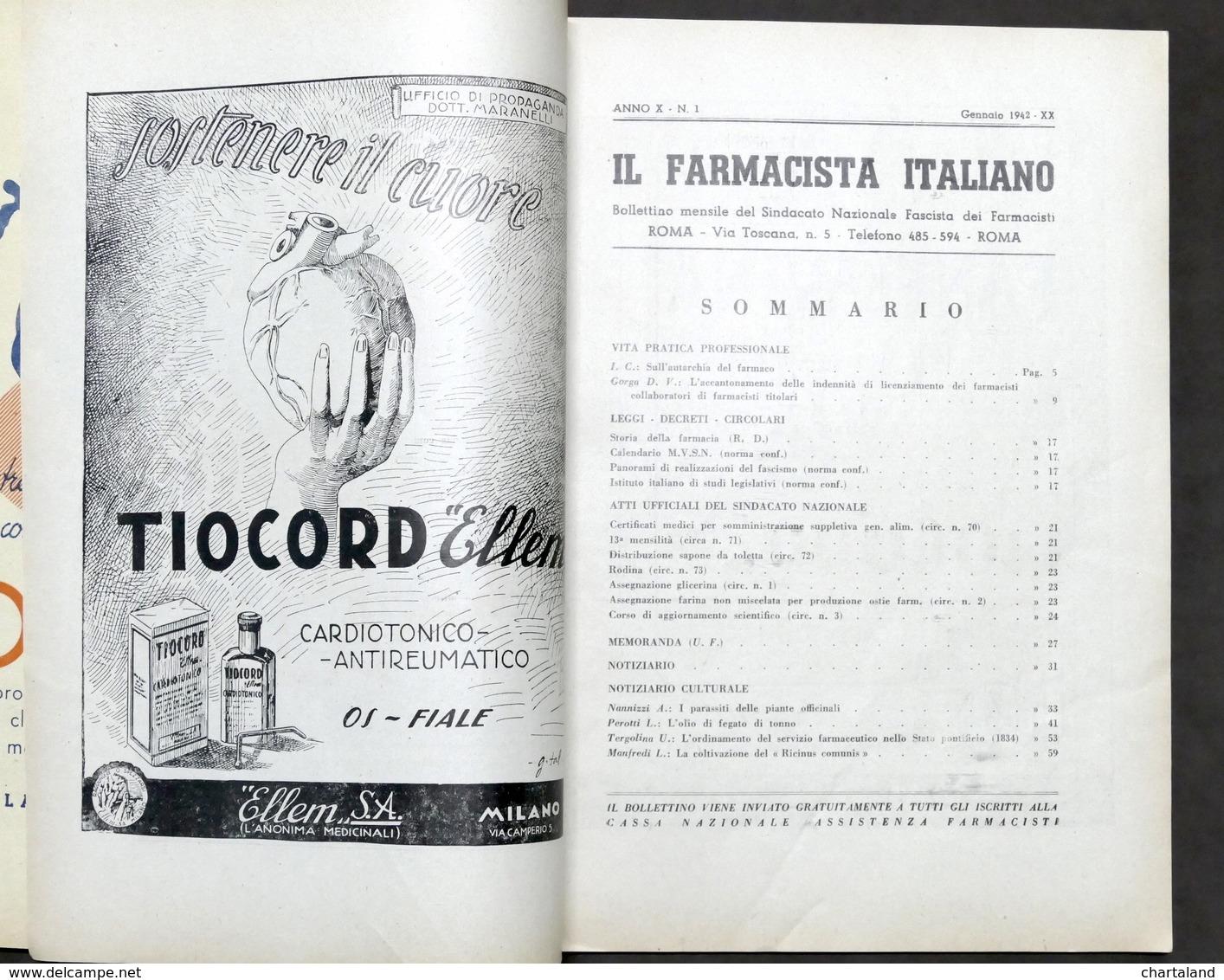 Farmaceutica - Bollettino Il Farmacista Italiano - Annata Completa 1942 - Libros, Revistas, Cómics