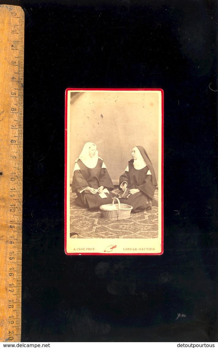 Photographie CDV : Religieuse Bonne Soeur None Carmélites / Atelier Photographe A CLOZ à LONS LE SAUNIER - Anonymous Persons