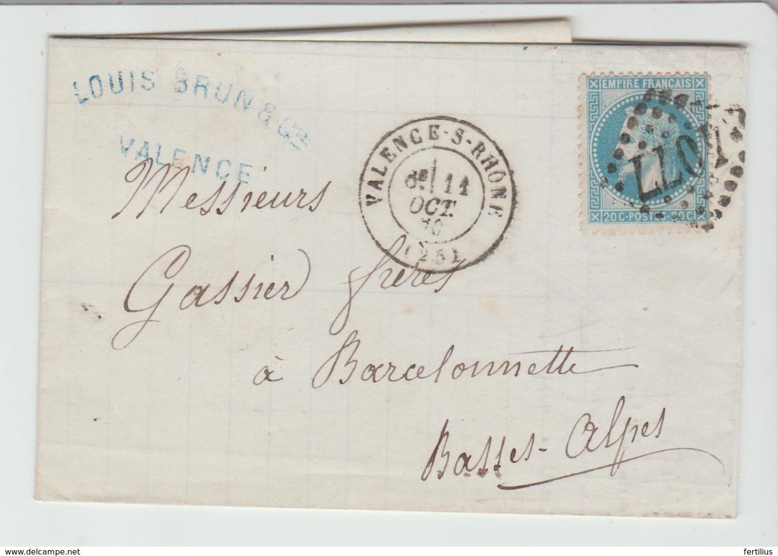 DROME: VALENCE -S-RHONE G.C 4077 + CàD Type 17 / LAC De 1870 > Barcelonnette TB - 1849-1876: Classic Period